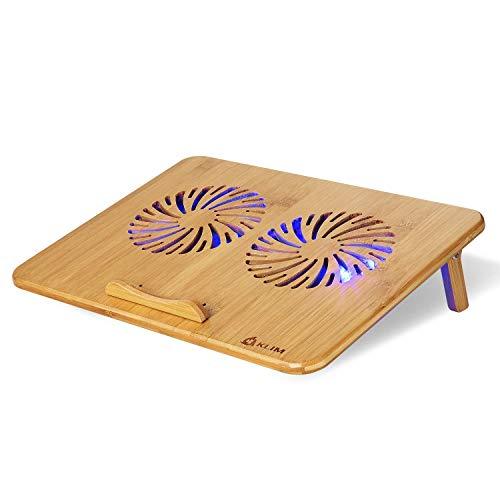 """KLIM™ Bamboo - Laptop Kühlungspad - Anpassbare Geschwindigkeit - Kühlende Unterlage mit Lüftern und Bambus Struktur, für Laptops zwischen 10"""" und 15,6"""" - Extra USB Port [ Neue 2019 Version ]"""
