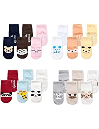 Z-Chen Calcetines Antideslizantes para bebés (Pack de 12 pares)