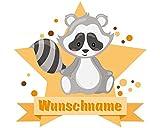 plot4u Süßer Waschbär Aufkleber mit Namen Autoaufkleber Namensaufkleber Kinder in 7 Größen (50x44cm Mehrfarbig)