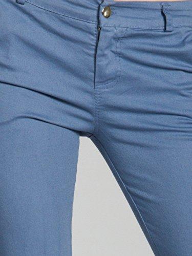CASPAR KHS037 Damen Baumwoll Chino Hose Skinny Fit Jeans Blau