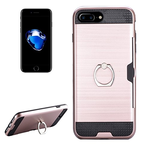 Hülle für iPhone 7 plus , Schutzhülle Für iPhone 7 Plus Texture Metall Schutzmaßnahmen zurück Fall mit Ring Halter Stand & Card Slot ,hülle für iPhone 7 plus , case for iphone 7 plus ( Color : Blue ) Rose gold