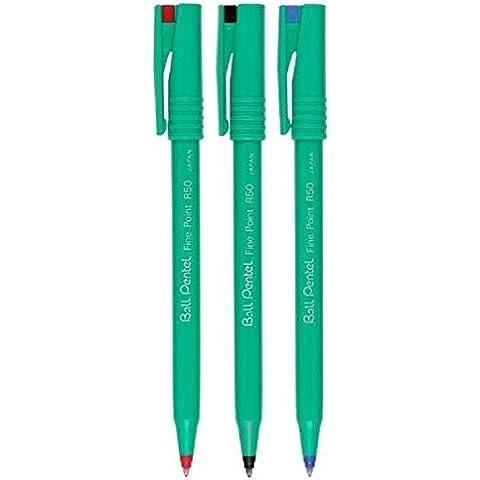 Pentel colori assortiti, R50penna a sfera penna a sfera Penne imbottito punta fine da 0,8mm, tratto 0,4mm larghezza 77% Riciclato (1di ogni colore: nero blu rosso–3Penne)