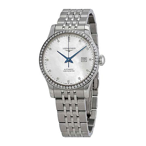 Longines Record White Mother of Pearl Diamond Dial Ladies Automatic Watch L2.321.0.87.6