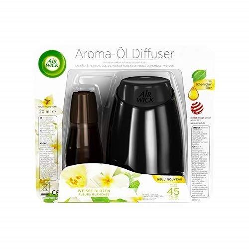 Air Wick -Kit de démarrage pour diffuseur d'huile aromatique (comprend une recharge de fleurs blanches) - 20 ml