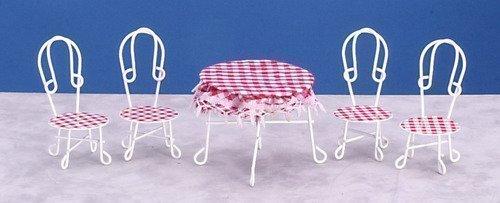 Miniatura Per Casa Delle Bambole Cafe Bistrò Veranda Mobili Da Giardino Tavolo & Sedie