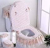 XING GUANG Stoff WC-Sitz Dreiteiligen Haushalt Zweiteiligen Waschbaren Reißverschluss Kissen WC-Sitzkissen,Brown