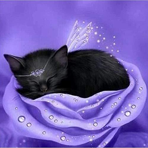 Diamant Malset für Erwachsene, Kinder Greatmin Bürodekoration, Schlafende Katze auf Rose, 30 x 30 cm, 1 Packung