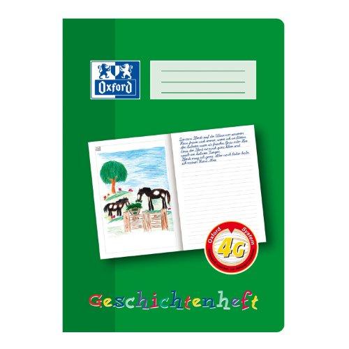OXFORD 100050098 Geschichtenheft Schule 10er Pack A4 16 Blatt Lineatur 4G (4. Klasse) Lernsysteme grün