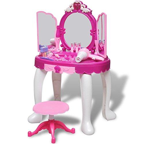 vidaXL Coiffeuse de Jouet avec Lumière Son 3 Miroirs Enfant Maquillage Jouets