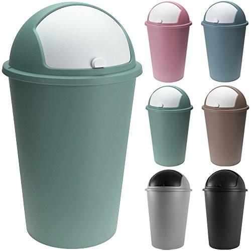 Abfalleimer 50L mit Schiebedeckel 68cm x 40cm grün - Mülleimer Papierkorb Abfallbehälter Restmüll Müllbehälter Abfallsammler