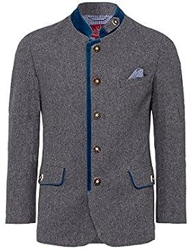 Edelheiss MOSER Trachten Lodenjacke grau blau inkl. Einstecktuch 004563, Material Schurwolle, Stehkragen