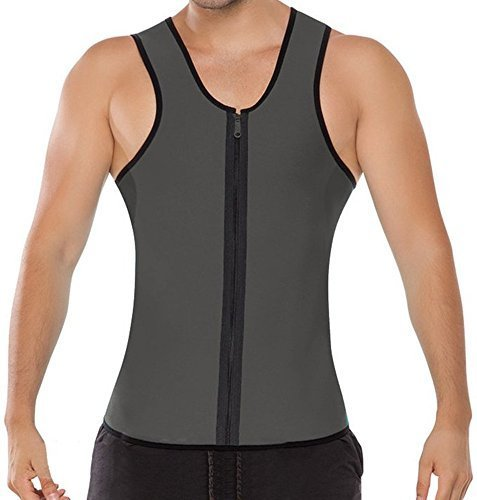 Mens Waist Suit Slim Fit Body Vest AB Wear Hot Neoprene Sauna Men Body Shapers For Weight Loss Gray Size - L, Large/Gray
