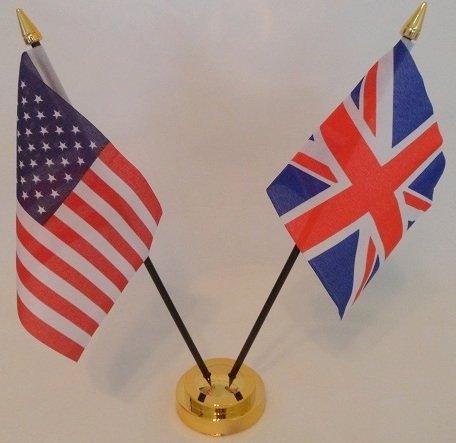 USA Vereinigte Staaten von Amerika Union Jack Flagge 2Freundschaft Tisch mit Gold Boden