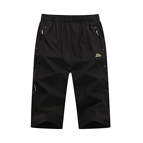 Walk-Leader shorts légers décontractés à séchage rapide pour sport d'extérieur pour hommes, shorts de randonnée 3/4 - noir - XX-Large