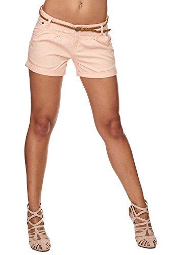 SUBLEVEL Damen Cuba Chino Shorts Bermuda kurze Hose inkl. Gürtel Pastel Orange S