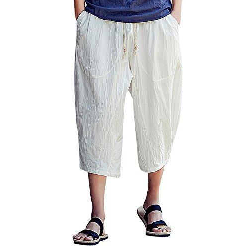Sommer, Männer beiläufige dünne Sporthosen wadenlange Leinenhose Baggy Harem Pants Lässige Freizeithose Strandhosen Bequem Atmungsaktiv Sommerhosen Loose Leggings ()