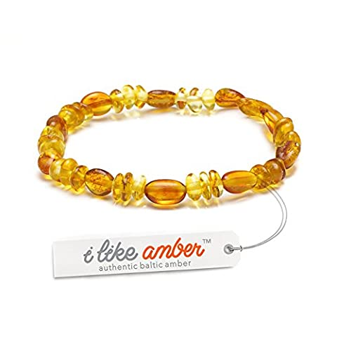 STRETCHY Amber Anklet Bracelet Genuine Baltic Amber Beads - Best Baltic Amber Quality on Amazon - Size 13.5m /