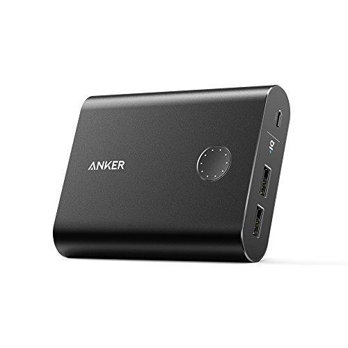 Anker PowerCore+ 13400mAh Externer Akku Powerbank Aluminium USB Ladegerät mit PowerIQ für iPhone, Galaxy Serie Smartphones und Tablets (Schwarz)