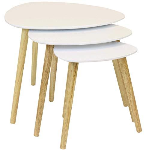 3-teiliger Stapel-Kaffeeende- / Seiten-Sofa-Satztisch mit runder Tischplatte und Holzoberfläche