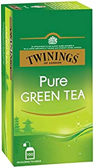 Twinings Pure Green Tea, 100 Teabags, Green Tea, Perfectly Balanced & Refres