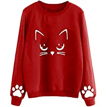 camiseta gato - Rojo - Amazon.es
