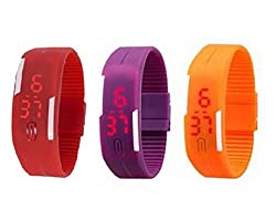 Addic Combo Of 3 Red Purple Orange LED Display Watch For Men And Women