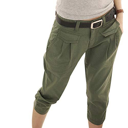 227bc5b9b Inlefen Femmes Été Pantacourt Pantalon Mouvement Décontractée Un Pantalon  Poche Coupe Slim Un Pantalon