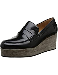 Castañer Valerie / Box Leather Woven Suede - Mocasines para mujer