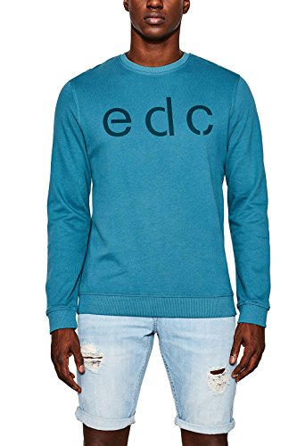edc by ESPRIT Herren Sweatshirt Grün (Dark Teal Green 375)