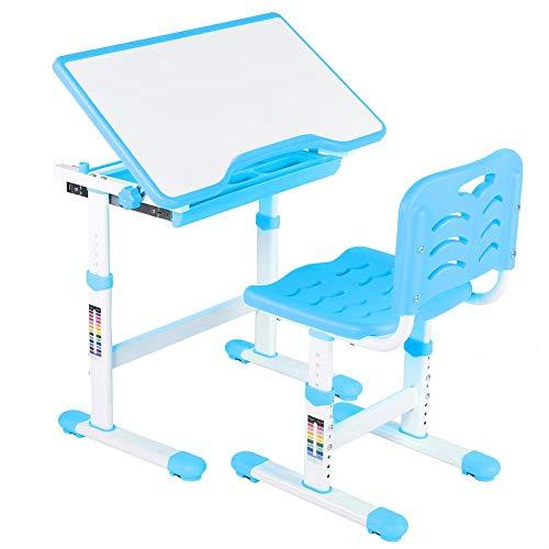 lyrlody Schülerschreibtisch Kinderschreibtisch Einstellbarer Jugendschreibtisch mit Schublade Höhenverstellbar Kindertisch mit Stuhl für Kinder Schüler, blau/rosa(blu) -