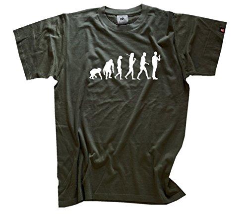 Shirtzshop–Maglietta Evoluzione Uomo, Beige, XL Verde