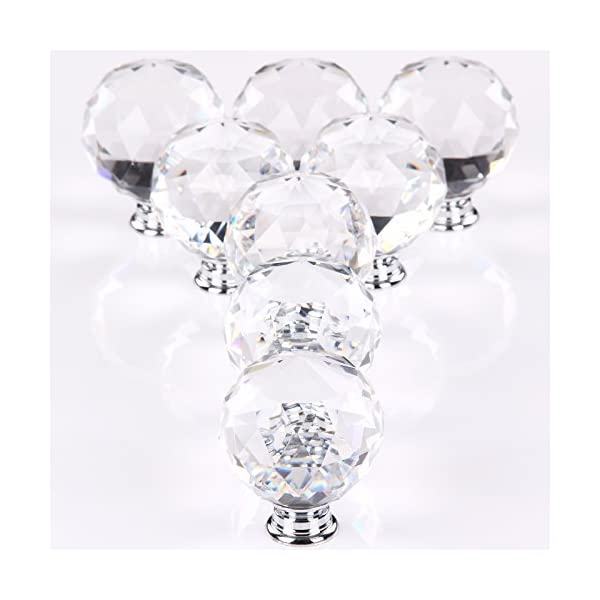 MultiWare Door Knob 8 * 40mm Clear Crystal Glass Cupboard Drawer Cabinet Kitchen Handles 416rgrrURML