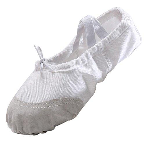 Panegy - scarpette da ballerina scarpe da ballo scarpe per danza classica scarpe per balletto per bambina antiscivoli con laccio - taglia 30 - bianco