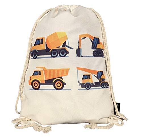 HECKBO® Kinder Jungen Turnbeutel | beige, beidseitig mit 4 Baufahrzeugen Bedruckt | für Kindergarten, Krippe, Reise, Sport | Rucksack, Spieltasche, Sportbeutel, Schuhbeutel