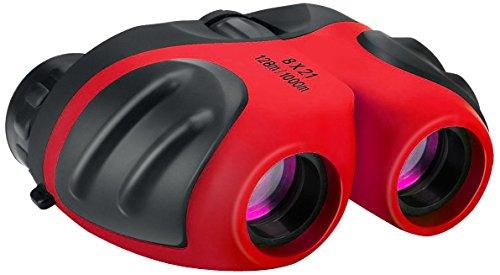 Kompakt Feldstecher Kinder, DMbaby 8 x 21 Fernglas für Vogelbeobachtung, Jagd, Reisen, Sightseeing Rot DL04