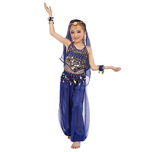 Amphia - Bauchtanz-Set für Mädchen-Indianertanz (ohne Schleier und Zubehör) - Handgemachte Kinder Mädchen Bauchtanz Kostüme Kinder Bauchtanz Ägypten Tanz Tuch (C(Blau ), S)