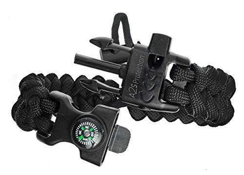 Imagen de  a2s proteccion paracord pulsera k2 peak  juego de equipo de supervivencia con brújula integrada, encendedor de fuego, cuchillo de emergencia y silbato negro/verde  alternativa