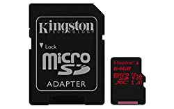 Kingston Canvas React MicroSD card -(SDCR/64 GB) class 10, with SD adapter/Ideal for shooting burst-mode photos and 4K video
