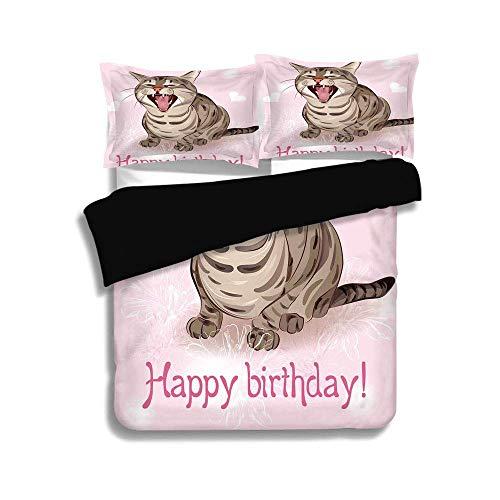 Rosa Und Brown Twin Bettwäsche (Schwarzer Bettbezug Set, Geburtstag Dekorationen, lustige Katze singt einen Gruß Song rosa Hintergrund mit Herzen Blumen, Baby Pink Brown, dekorative 3 Stück Bettwäsche Set von 2 Pillow Shams, TWIN-Gr)