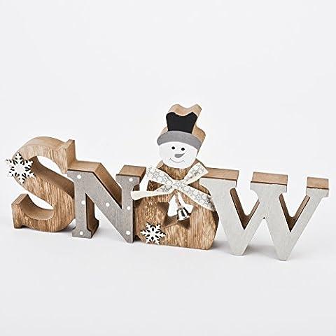 Schriftzug Snow Xmas Deko Holz 12x25x2cm natur grau Weihnachten Advent