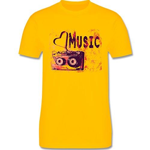 Music - Love music - L190 Herren Premium Rundhals T-Shirt Gelb