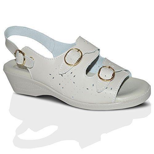Femmes En Cuir Plat Décontractéété Confort Plage À Enfiler Buckle Sandales Chaussures Pointure 3-8 UK Beige Buckle Escarpins Ouverts