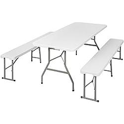 TecTake Ensemble table pliante et 2 bancs jardin pliables camping buffet traiteur