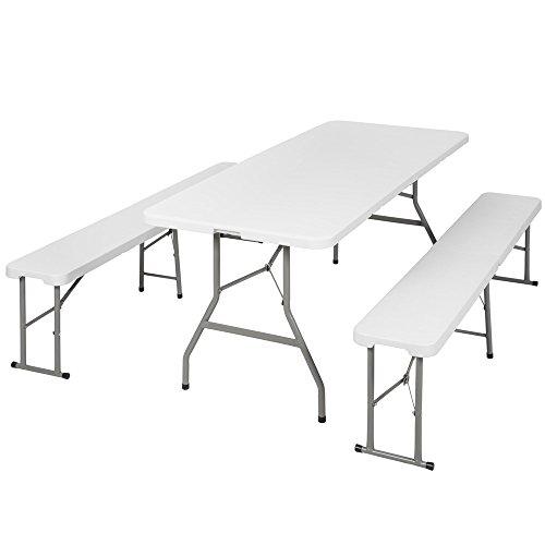 TecTake Conjunto mesa 2 bancos plegables muebles camping