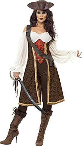 Smiffy's Adult Women's High Seas Pirate Wench Costume, Dress, Trousers and Baldric, Pirate, Serious Fun, (Sexy Del Wench Del Pirata)