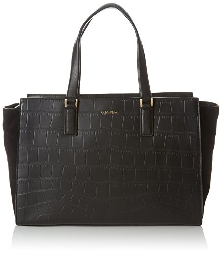 Calvin Klein Jeans Shari Croc Large Tote, Sac Femme, Noir (Black 001), 18x24x49 cm (B x H x T)