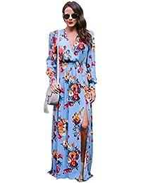 16af20c6eb693 Niseng Vestito Lungo Elegante Donna Cerimonia Abito Maniche Lunga Vestiti  Stampa Floreale Scollo V Casual Mode Abiti Spiaggia Sera Cocktail…