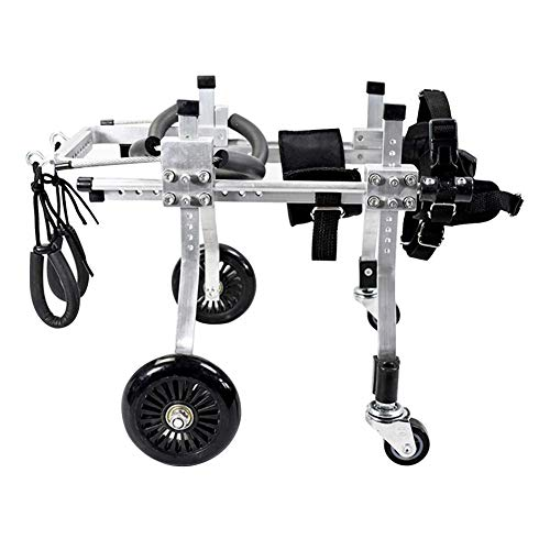 CHHUABAN Haustier Hund Roller Einstellbare Aluminium Stuhl Behinderten Hund Rollstuhl 4 Rad Hinterglied Assisted Rehabilitation Übung Wagen Stepper (größe : S) -