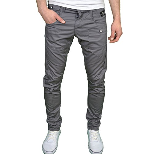 Crosshatch Mens Designer Twisted Leg Regular Fit Tapered Chinos Jeans (36W x 32L, Charcoal)