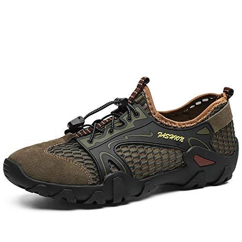 HILOTU Sandalo da Trekking E da Corsa Leggero da Uomo Barefoot-Ispirato Minimalista Trail Sandali Sportivi Scarpe Stringate Stile Mesh E Pigskin Personality Splicing Traspirante